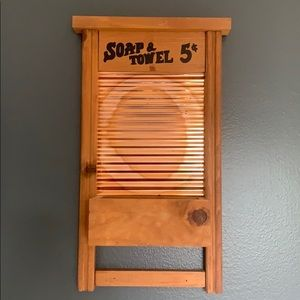 Vintage Wooden Washboard Wall Decor W/ Shelf